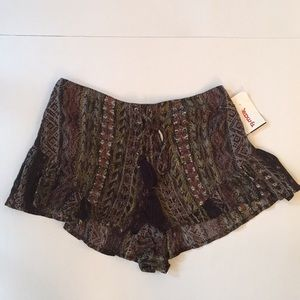 NWT Free People Printed Lace Up Shorts